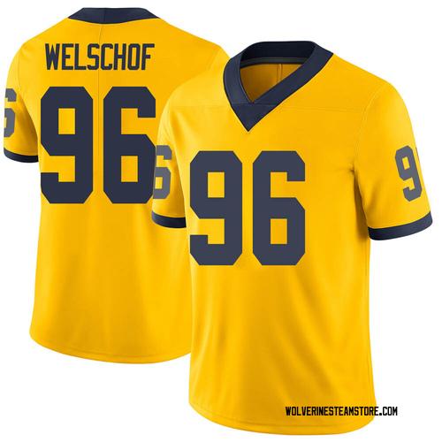 Men's Julius Welschof Michigan Wolverines Limited Brand Jordan Maize Football College Jersey