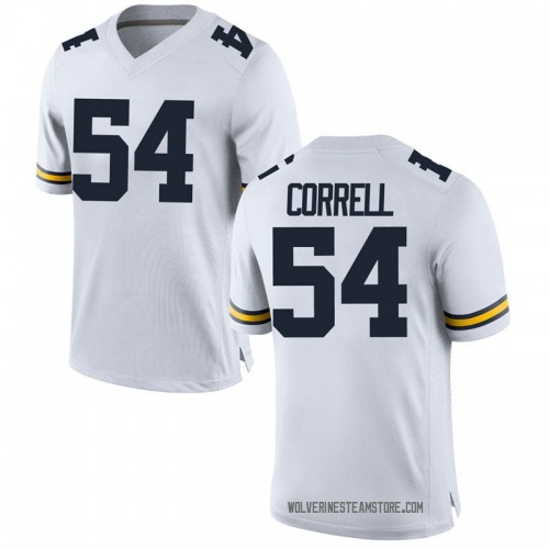 Men's Kraig Correll Michigan Wolverines Replica White Brand Jordan Football College Jersey