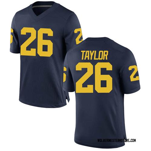 Men's Kurt Taylor Michigan Wolverines Game Navy Brand Jordan Football College Jersey