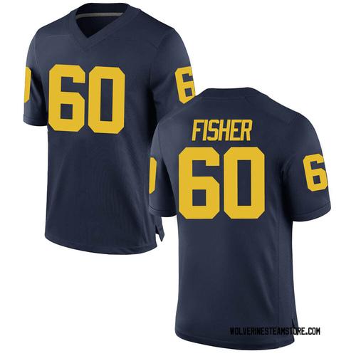Men's Luke Fisher Michigan Wolverines Game Navy Brand Jordan Football College Jersey