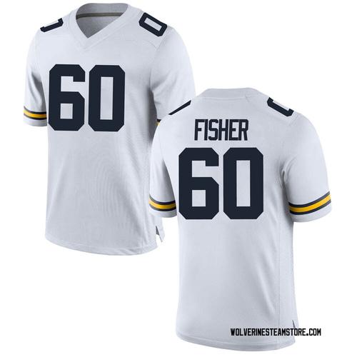 Men's Luke Fisher Michigan Wolverines Replica White Brand Jordan Football College Jersey