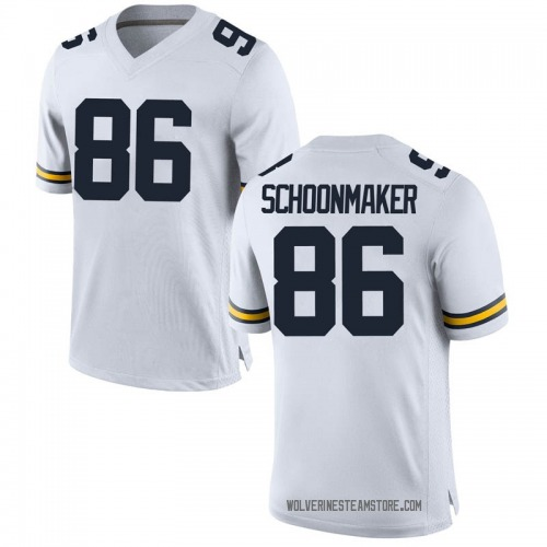 Men's Luke Schoonmaker Michigan Wolverines Replica White Brand Jordan Football College Jersey