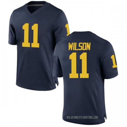 Men's Luke Wilson Michigan Wolverines Replica Navy Brand Jordan Football College Jersey