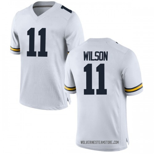 Men's Luke Wilson Michigan Wolverines Replica White Brand Jordan Football College Jersey