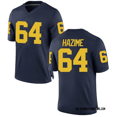 Men's Mahdi Hazime Michigan Wolverines Game Navy Brand Jordan Football College Jersey