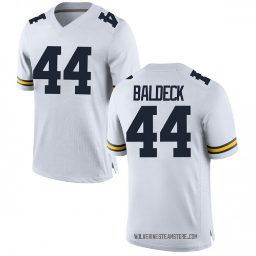 Men's Matt Baldeck Michigan Wolverines Replica White Brand Jordan Football College Jersey
