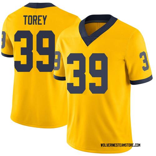 Men's Matt Torey Michigan Wolverines Limited Brand Jordan Maize Football College Jersey