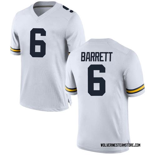 Men's Michael Barrett Michigan Wolverines Replica White Brand Jordan Football College Jersey
