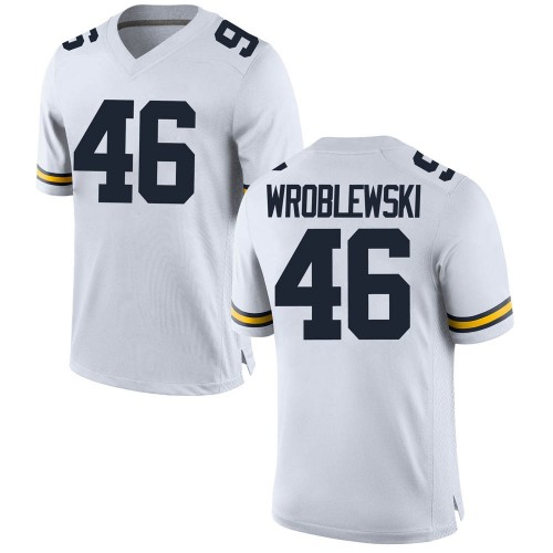 Men's Michael Wroblewski Michigan Wolverines Game White Brand Jordan Football College Jersey