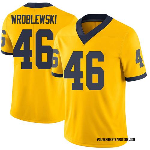 Men's Michael Wroblewski Michigan Wolverines Limited Brand Jordan Maize Football College Jersey
