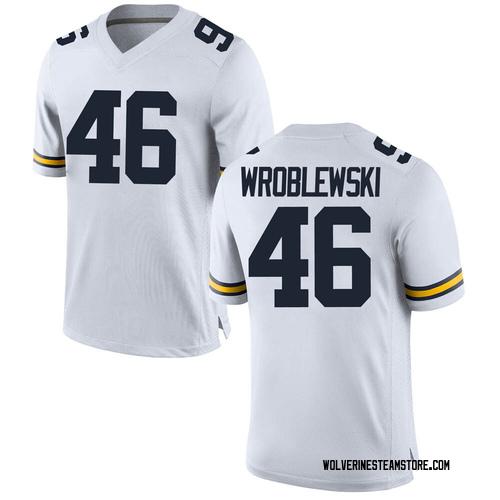 Men's Michael Wroblewski Michigan Wolverines Replica White Brand Jordan Football College Jersey