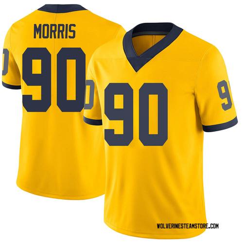 Men's Mike Morris Michigan Wolverines Limited Brand Jordan Maize Football College Jersey