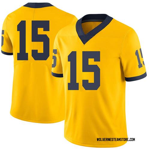 Men's Peter Bush Michigan Wolverines Limited Brand Jordan Maize Football College Jersey