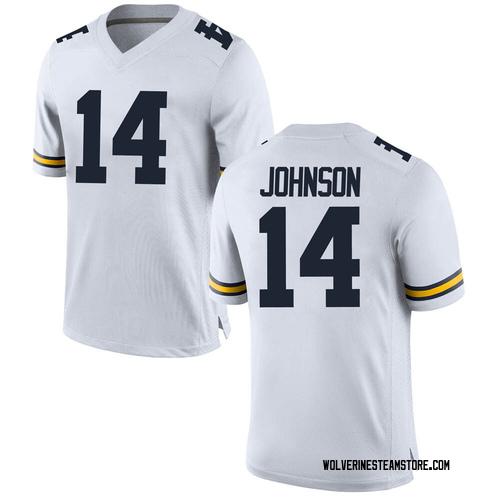 Men's Quinten Johnson Michigan Wolverines Game White Brand Jordan Football College Jersey