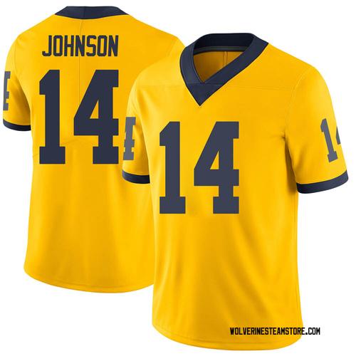 Men's Quinten Johnson Michigan Wolverines Limited Brand Jordan Maize Football College Jersey