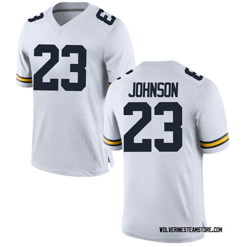 Men's Quinten Johnson Michigan Wolverines Replica White Brand Jordan Football College Jersey
