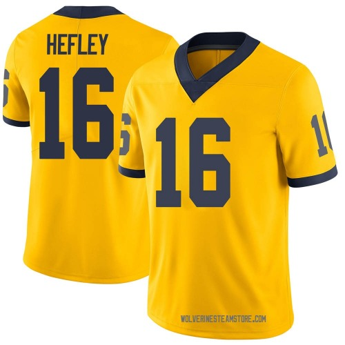 Men's Ren Hefley Michigan Wolverines Limited Brand Jordan Maize Football College Jersey