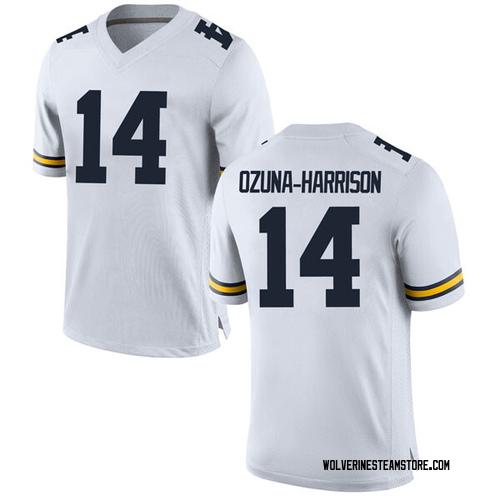 Men's Rico Ozuna-Harrison Michigan Wolverines Game White Brand Jordan Football College Jersey