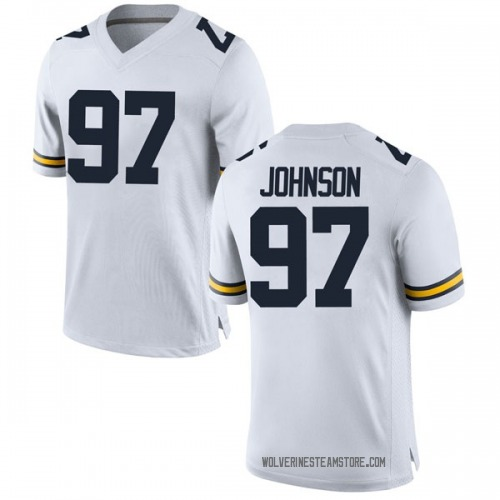 Men's Ron Johnson Michigan Wolverines Game White Brand Jordan Football College Jersey