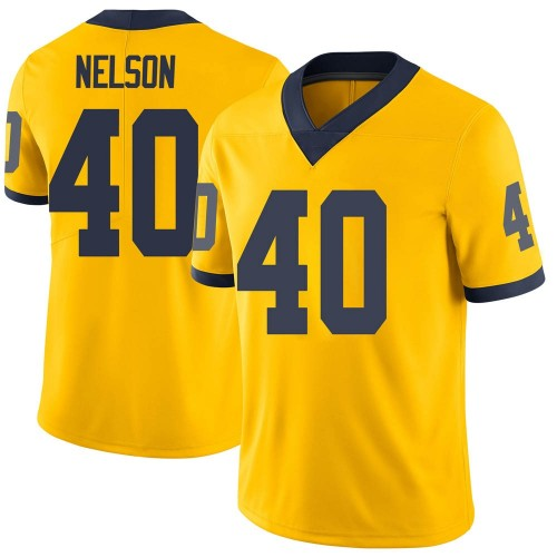 Men's Ryan Nelson Michigan Wolverines Limited Brand Jordan Maize Football College Jersey
