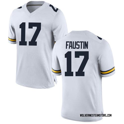 Men's Sammy Faustin Michigan Wolverines Replica White Brand Jordan Football College Jersey