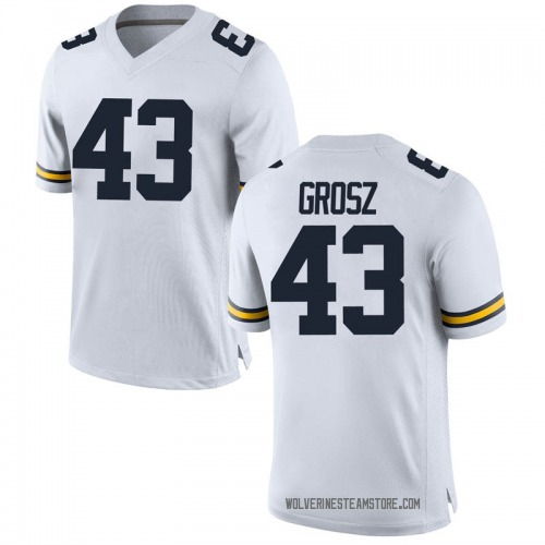 Men's Tyler Grosz Michigan Wolverines Replica White Brand Jordan Football College Jersey