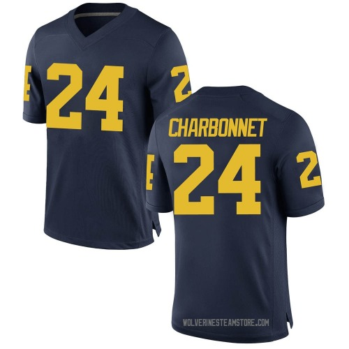 Men's Zach Charbonnet Michigan Wolverines Game Navy Brand Jordan Football College Jersey