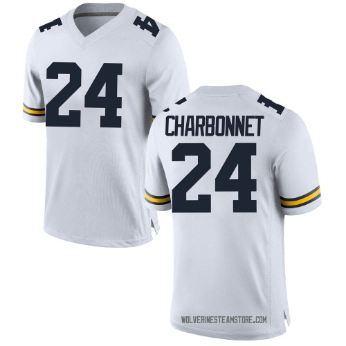 Men's Zach Charbonnet Michigan Wolverines Game White Brand Jordan Football College Jersey
