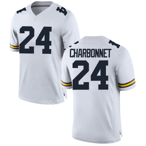 Men's Zach Charbonnet Michigan Wolverines Replica White Brand Jordan Football College Jersey