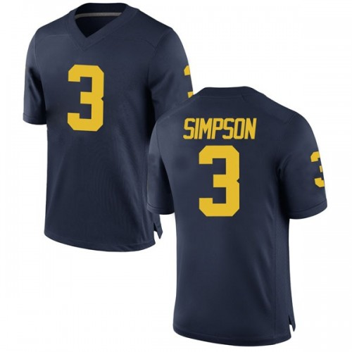 Men's Zavier Simpson Michigan Wolverines Game Navy Brand Jordan Football College Jersey