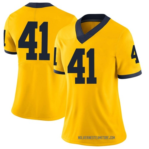 Women's Abe Jaafar Michigan Wolverines Limited Brand Jordan Maize Football College Jersey