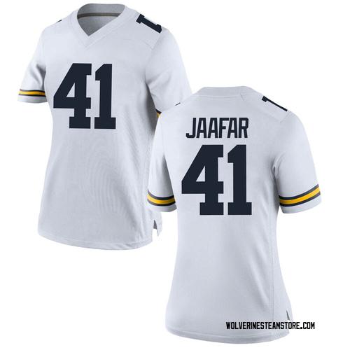 Women's Abe Jaafar Michigan Wolverines Replica White Brand Jordan Football College Jersey