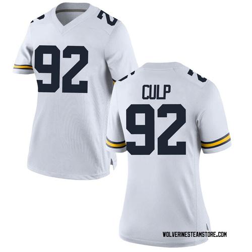 Women's Adam Culp Michigan Wolverines Game White Brand Jordan Football College Jersey