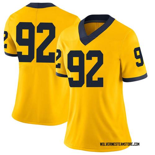 Women's Adam Culp Michigan Wolverines Limited Brand Jordan Maize Football College Jersey