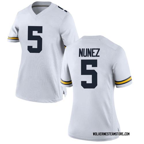 Women's Adrien Nunez Michigan Wolverines Game White Brand Jordan Football College Jersey
