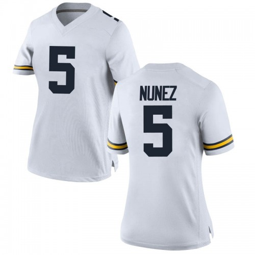 Women's Adrien Nunez Michigan Wolverines Replica White Brand Jordan Football College Jersey