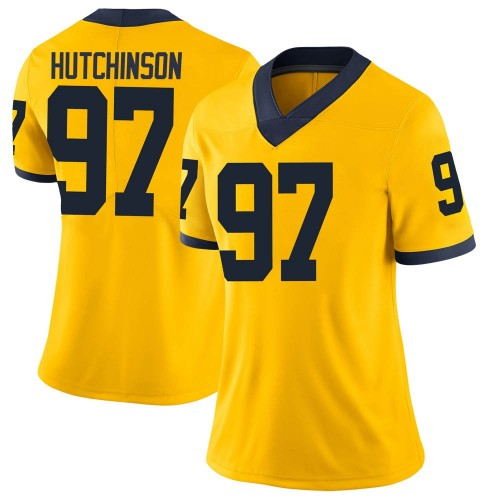 Women's Aidan Hutchinson Michigan Wolverines Limited Brand Jordan Maize Football College Jersey