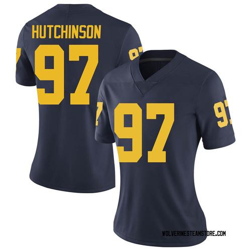 Women's Aidan Hutchinson Michigan Wolverines Limited Navy Brand Jordan Football College Jersey