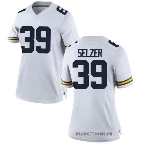 Women's Alan Selzer Michigan Wolverines Replica White Brand Jordan Football College Jersey