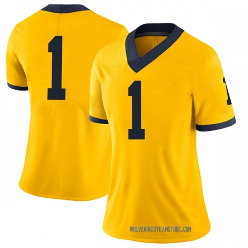 Women's Ambry Thomas Michigan Wolverines Limited Brand Jordan Maize Football College Jersey
