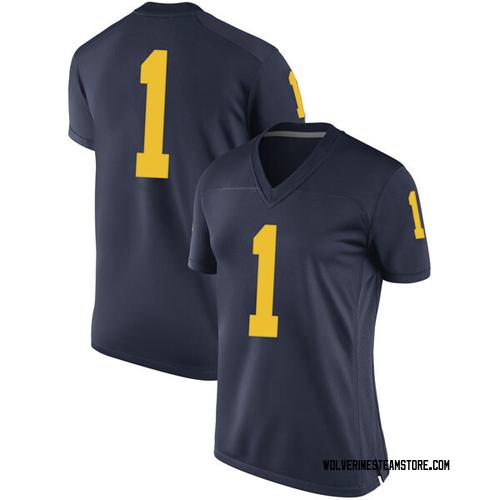 Women's Ambry Thomas Michigan Wolverines Replica Navy Brand Jordan Football College Jersey