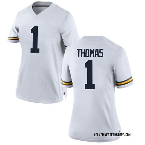 Women's Ambry Thomas Michigan Wolverines Replica White Brand Jordan Football College Jersey