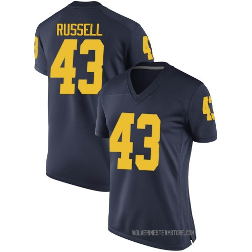 Women's Andrew Russell Michigan Wolverines Game Navy Brand Jordan Football College Jersey