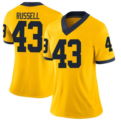 Women's Andrew Russell Michigan Wolverines Limited Brand Jordan Maize Football College Jersey