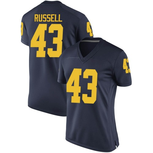 Women's Andrew Russell Michigan Wolverines Replica Navy Brand Jordan Football College Jersey