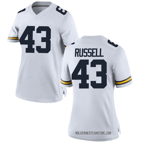 Women's Andrew Russell Michigan Wolverines Replica White Brand Jordan Football College Jersey