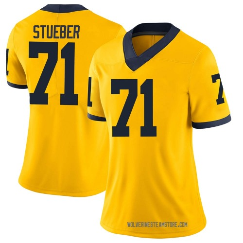 Women's Andrew Stueber Michigan Wolverines Limited Brand Jordan Maize Football College Jersey