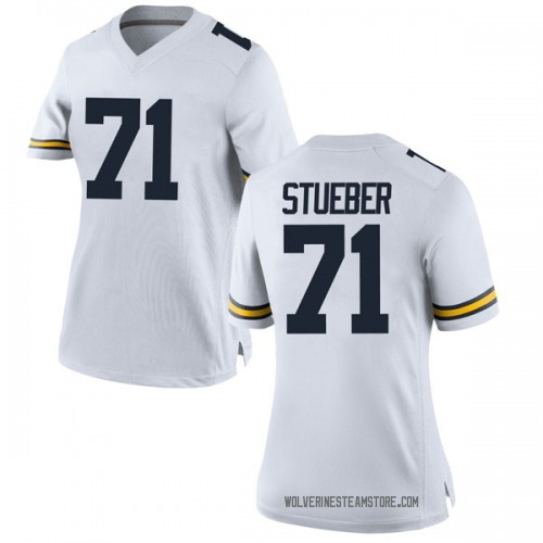 Women's Andrew Stueber Michigan Wolverines Replica White Brand Jordan Football College Jersey