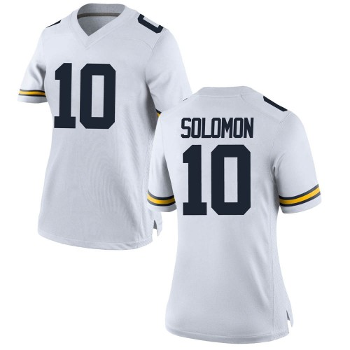 Women's Anthony Solomon Michigan Wolverines Replica White Brand Jordan Football College Jersey