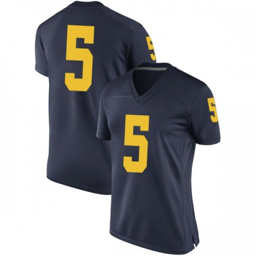 Women's Aubrey Solomon Michigan Wolverines Game Navy Brand Jordan Football College Jersey